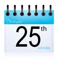 calendar page for 25th December vector image