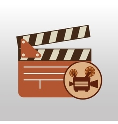 camera movie vintage clapper icon design vector image