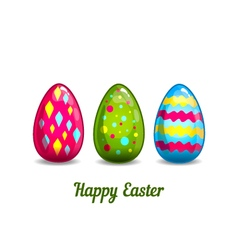Card with cartoon Easter eggs vector image