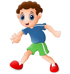 cartoon curly young boy posing on a white backgrou vector image