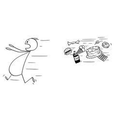 Cartoon fat man running away chased by vector