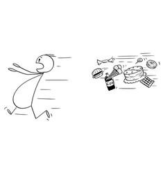 cartoon fat man running away chased vector image