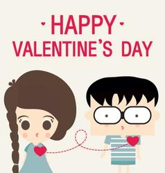 Cartoon happy valentine love link vector