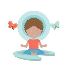Cartoon man practicing yoga vector