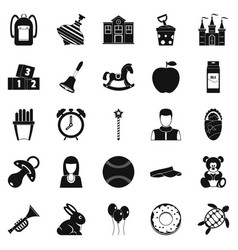 child center icons set simple style vector image
