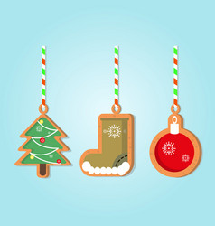 christmas holiday gingerbread vector image