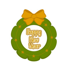 christmas holly wreath happy new year vector image