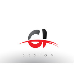 Ci c i brush logo letters with red and black vector