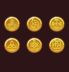 coins with celtic symbols cartoon set celtic vector image
