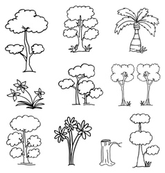 Collection of tree doodles vector