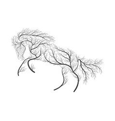 concept horse jumping stylized bush for use on vector image