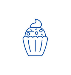 cupcake line icon concept cupcake flat vector image