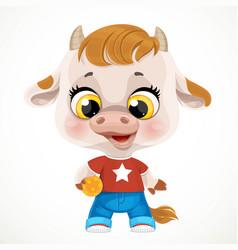 cute cartoon baby calf with orange ball isolated vector image