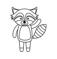 cute line icon raccoon cartoon vector image
