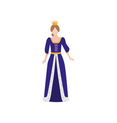 cute medieval princess with gold crown and long vector image