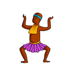 Dancing tribe man with hand up and legs down vector