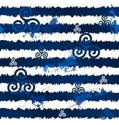 Dark blue grunge stripes with celtic triskels vector image