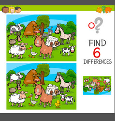 Differences game with farm animal characters vector