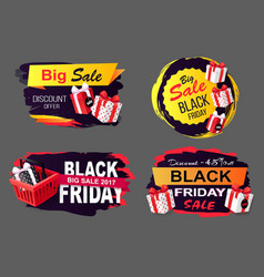 discounts on black friday promotional icons set vector image
