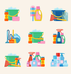 domestic tools for cleaning on the white vector image