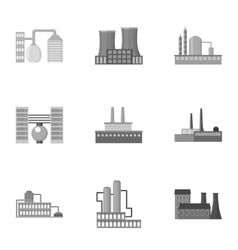 Factory set icons in monochrome style Big vector