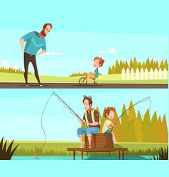 Fatherhood 2 retro cartoon banners vector