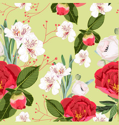 flower seamless pattern with peonies vector image