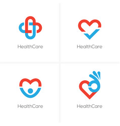 Four health care logo with heart shape vector