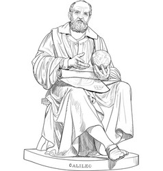 Galileo galilei portrait in line art vector