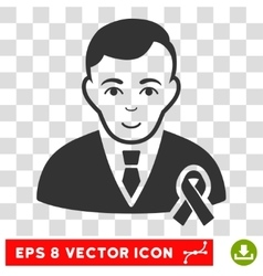 Gentleman With Mourning Ribbon EPS Icon vector
