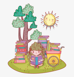 girl read books with hand cart vector image