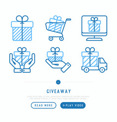 giveaway or gifts thin line icons set vector image