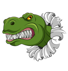 green dinosaur with sharp teeth out from vector image