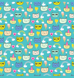 Happy cat seamless pattern background vector
