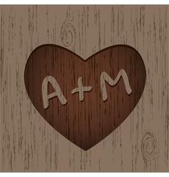 heart symbol on wood vector image