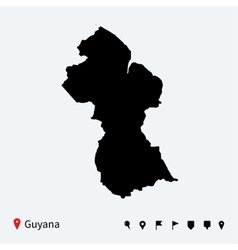 high detailed map guyana with navigation pins vector image