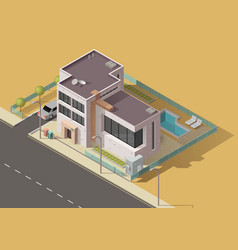 house building icon home with garden car pool vector image