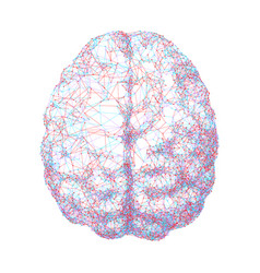 human brain consist of dots connected by lines in vector image