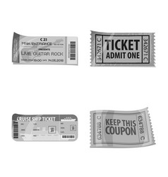 Isolated object of ticket and admission icon set vector