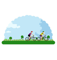 landscape of an outdoor park with people riding vector image