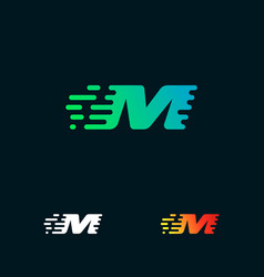 letter m modern speed shapes logo design vector image