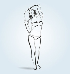 Line sketch of a woman in a bathing suit and hat vector