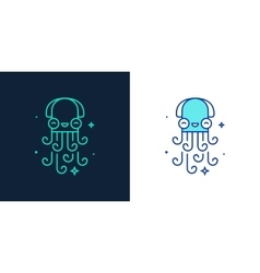Linear style icon of an octopus vector image
