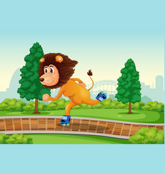 lion playing roller skate in park vector image