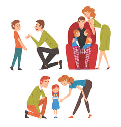 loving parents and their kids set father and vector image