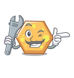 mechanic hexagon mascot cartoon style vector image