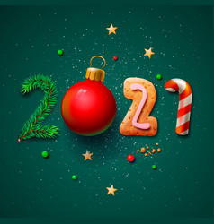 merry christmas and happy new year 2021 greeting vector image