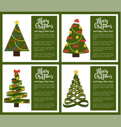 merry christmas and happy new year poster tree set vector image
