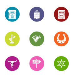 mexican border icons set flat style vector image