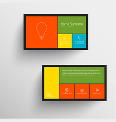 Modern business card template with flat mobile vector